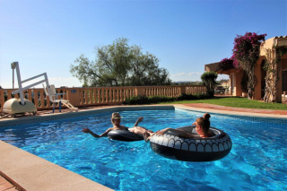 Accessible pool with pool lift, kept at Luz do sol accessible villa for wheelchair users.